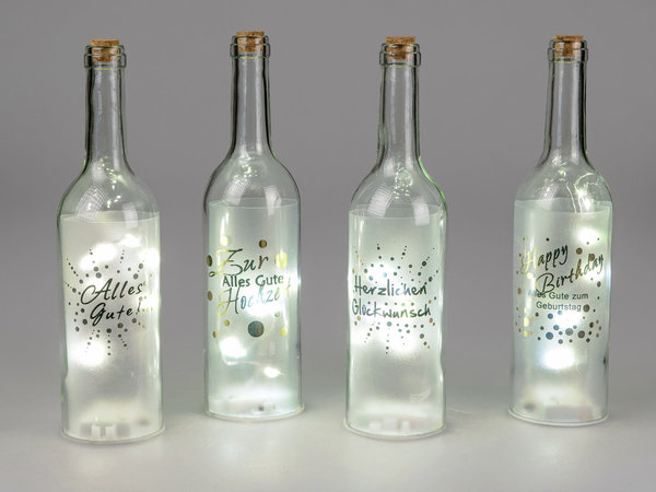 Glasflasche mit LED » Alles Gute « 29cm